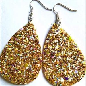 Gold Multi-Glitter Teardrop Earrings